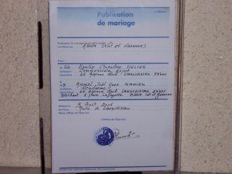 08 aout 2006 publication des bans emilie et armel mariage le 9 septembre 2006 - Publication banc mariage ...